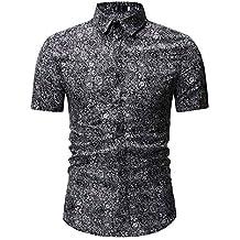 ¡Gran promoción!Rovinci Camisas para Hombres Verano Nuevo patrón Moda Casual Impresión de Solapa