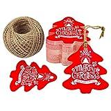 Etichette per regali natalizi, 100etichette a forma di albero di Natale con carta artigianale di 5cm x 5,5cm, ideale per lavoro fatti a mano Red