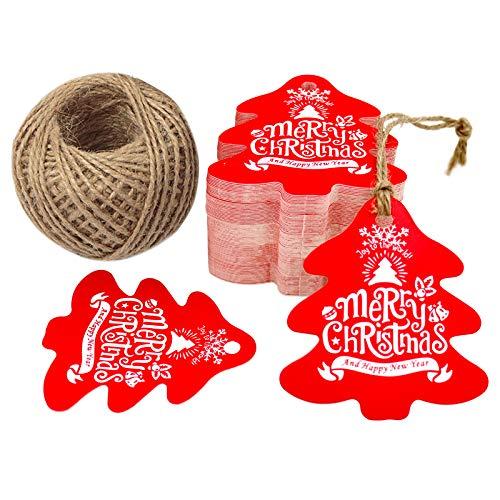 G2Plus, etichette per regali natalizi, 100 etichette a forma di albero di Natale da appendere o attaccare, con carta artigianale di 6 cm x 6,5 cm, ideale per lavori fatti a mano R