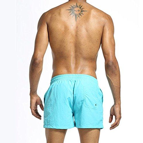 Arcweg Herren/Jungen Badeshorts Kurz Beachshorts Boardshorts Badehose Mit Seitlichem Logoschriftzug Trainingshose Für Sommer Wassersport |Ab 13 Jahren|Größe XS-L Hellblau