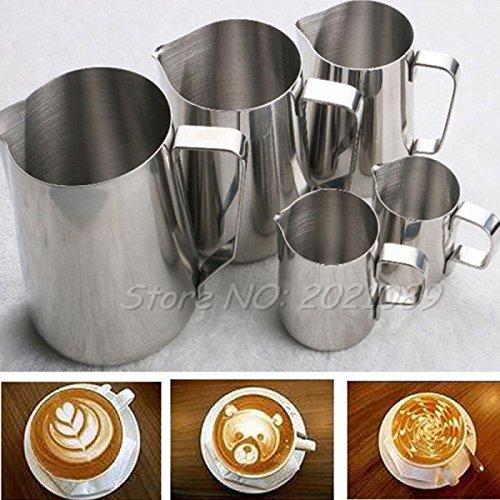 CYALE (TM) 150/350/600/1001ML BARISTA ESPRESSO JARRA DE CAFE TE JARRA DE CAFE PARA HACER ESPUMA DE LECHE DE ACERO INOXIDABLE PARA COCINA HOGAR  ACERO INOXIDABLE  1 000 ML