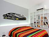 Black Lamborghini Sports Car Printed Wall art sticker boys bedroom Decal room.S15 (550mm)