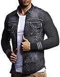LEIF NELSON Herren Strick-Jacke-Hemd| Vintage Jeans-Hemd für Männer Slim-Fit Langarm | Freizeit Jacke-Hemd Verwaschen Casual LN3555; Größe L, Schwarz