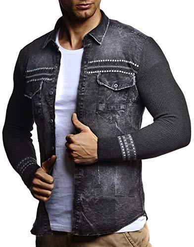 LEIF NELSON Herren Jeanshemd Kapuzen Pullover Jacke Hoodie Sweatjacke Freizeitjacke LN3555; Größe S, Schwarz