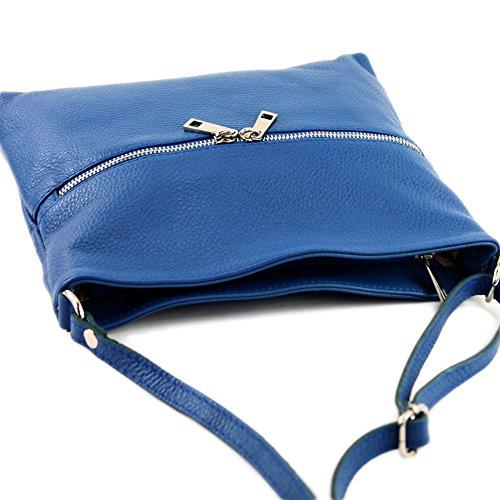 modamoda de - ital. Ledertasche Crossover Schultertasche Damen Umhängetasche Leder T144 Blau