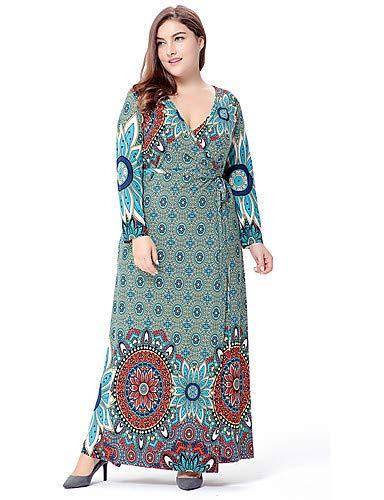 YFLTZ Women's Plus Size Ausgehen Sophisticated Boho lose Mantel Swing Dress - Polka Dot geometrische Paisley Ausgeschnitten hohen Aufstieg Maxi V-Ausschnitt, grün, XXXXXL Paisley Vintage Mantel