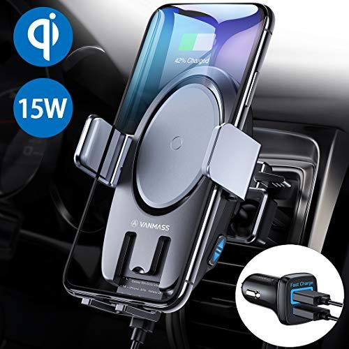 VANMASS Wireless Charger Auto Handyhalterung Elektronisch Motor betrieben 15W/10W/7.5W/5W Qi Ladestation Auto mit 2 Lüftungsklammer für iPhone XS/XR/X/8 Galaxy Note 10+/Note 9/S10/S9/S8