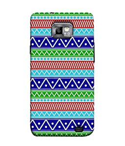 PrintVisa Designer Back Case Cover for Samsung Galaxy S2 I9100 :: Samsung I9100 Galaxy S Ii (Pattern blue sea green red white)