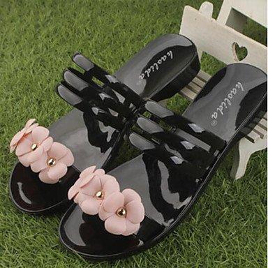 zhENfu donna sandali di gomma Slingback Estate Casual tacco piatto nero rosa arrossendo 1A-1 3/4in Black