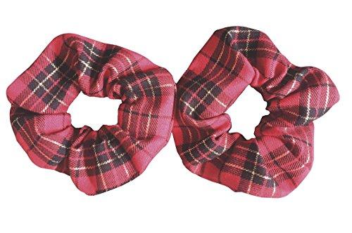 2x Big Weihnachten rot und gold Tartan Haar Rüschen 120mm rund - Gold Rüschen