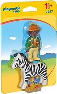 PLAYMOBIL 1.2.3-9257 Hombre con Cebra, Multicolor, única (9257)