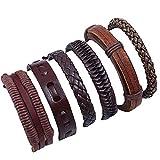 POTOU Unisex Echtleder Manschette Wickel Armband Seil Wristband mit 6