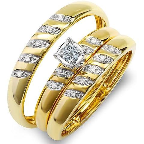 0.15quilates (quilates) 10K oro amarillo redondo blanco diamante Hombres y Mujeres de anillo de compromiso Trio Set