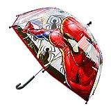 Chanos Chanos Marvel Manual Dome Shape Poe Transparent Folding Umbrella, 45 cm, Red Regenschirm, Rot (Red)