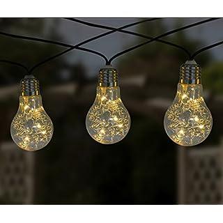 AntEuro Bulb String Lights, EONANT 5M 10 LED Plastic Solar Birnen String Lights Wasserdicht mit 2 Modes Beleuchtung für Outdoor, Garten, Weihnachtsdekoration (Warm White)