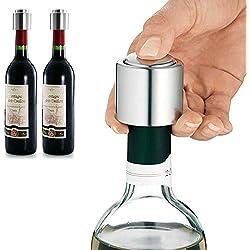 BlueBeach® 3 Piezas Acero inoxidable Tapon de Vino de Vacío (No compatible con las botellas de vino de tornillo superior)