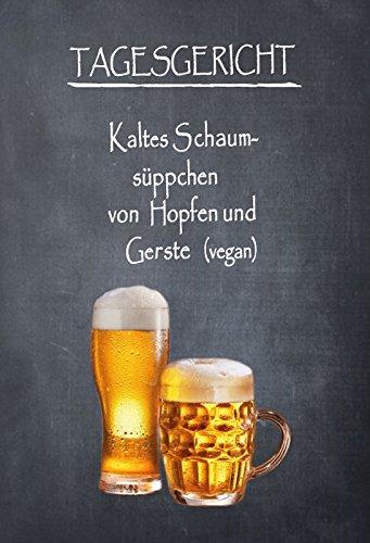 ht - menu - Bier - vegan Metal Sign deko Sign Garten Blech ()