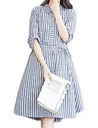 yulinge Las Mujeres Vestido De Una Linea De Cuello Blusas Vestidos Plus Tamaño Botón