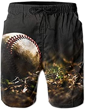 Funny Caps Baseball Grassland Background Men's/Boys Casual Quick-Drying Bath Suits Elastic Waist Beach Pants with...