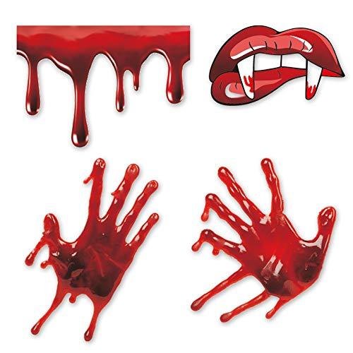 Arttop Halloween-Aufkleber mit blutigen Handabdrücken, Vampirblutende Lippen mit scharfen Zähnen, Aufkleber für Fenster, Auto, Stoßstange, Halloween, Wandkunst