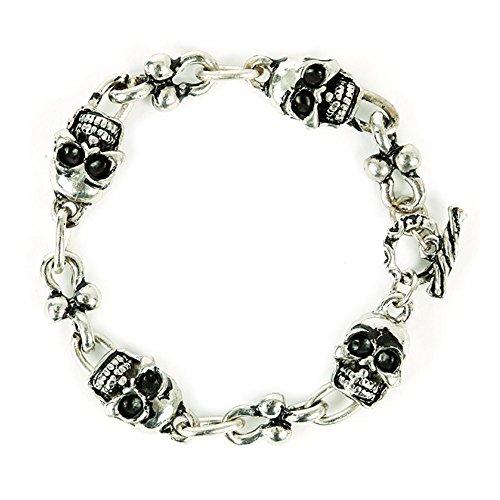 UNISEX BIKER KETTE l Totenkopf Dolch Mumien Wristband l Gothic Punk Armband l 7 Modelle l 100% Metall (82192-006-00000) (Eisen-dolch)