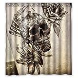 Einzigartiges und Generic Skull tattoo Duschvorhang, mit Blumen-Motiv, bedruckt, Polyester, wasserdicht, Design Kieselsteine 167.64 cm (B x h)