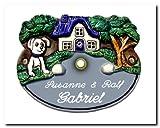 Keramik Klingelschild / Haustürklingel 20x16 cm Keramikschild mit Hunde-Motiv, inklusive Wunschgravur