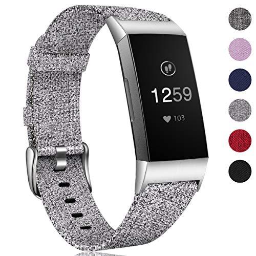 HUMENN Armband für Fitbit Charge 3 Woven Armbänd, Ersatzband Gewebte Stoff Armbands Zubehör Sport Armbänder für Fitbit Charge 3, Groß Grau