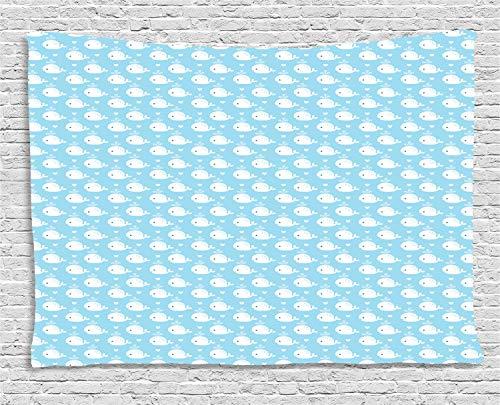 ABAKUHAUS Wal Wandteppich, Blaue Baby-Dusche-Design, Wohnzimmer Schlafzimmer Heim Seidiges Satin Wandteppich, 150 x 100 cm, Hellblau Weiß