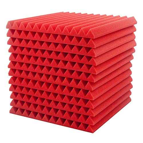 Surenhap Akustikschaumstoff, 12Pcs Schalldämmung Akustikplatten Studio Foam Wedges, 30 * 30 * 2,5cm (Rot)