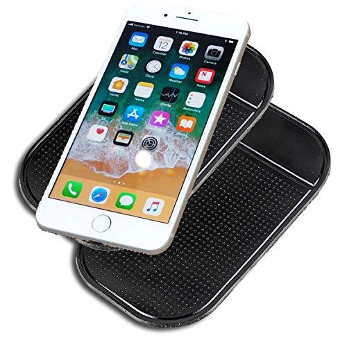 JATrade 2er Set Handy Smartphone Auto Halterung Premium Antirutschmatte mit starker Haftung KlebeMatte Haftmatte Armaturenbrett Kompatibel mit iPhone, Galaxy u. Anderen Smartphones usw. - Schwarz