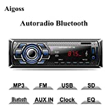 Aigoss Autoradio Bluetooth Freisprecheinrichtung, 4 x 60W Digital Media-Receiver, AM/FM/USB/ MP3-Media-Player, Drahtlose Fernbedienung Enthalten