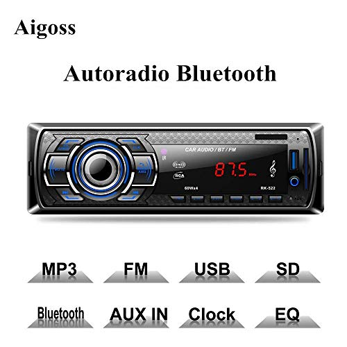 Aigoss Autoradio mit Bluetooth Freisprecheinrichtung, 4 x 60W Digital Media-Receiver, AM/FM/USB/ MP3-Media-Player, Drahtlose Fernbedienung Enthalten - Apple Kosten Ipod