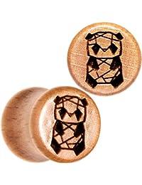 BodyCandy 2Pc Orgánico Beechwood 10mm Montura Pendientes Escala Conectar Geométrico Panda Dilatador Oreja Ancho Juego de