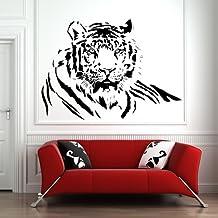Perfil del tigre Para niños Animales salvajes vinilos decorativos Inicio decoración art pegatinas disponible en 5 tamaños y 25 colores Pequeño Blanco