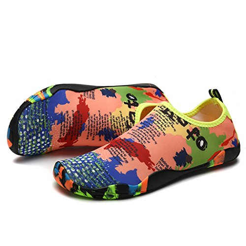DoGeek Scarpe da Nuoto Water Shoes Scarpe per Sport Acquatici Scarpe Nero Giardini Acqua Scarpe Uomo da Pantofole Spiaggia Pelle Sandali,Grigio,35