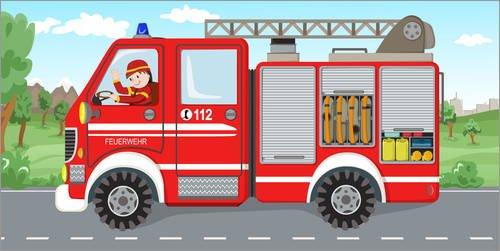 Stampa su acrilico 40 x 20 cm: Fire truck di Michaela Heimlich