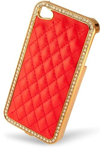 Luxburg® Elegante gepolsterte Pull Tab Stoff Schutzhülle Tasche Case für Apple iPhone 4 / 4S /4G - Grün Hard Case - Rot