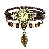 NJSDDB Armband Bestes Armband Art- undWeisefrauen Weinlese-Webart-Verpackungs-Quarz-PU-Leder-Blatt bördelt Armbanduhr-Dame Couple WatchS191-2