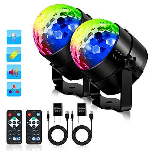 Solmore 2 Stück Discokugeln mit Fernbedienung RGB 11 Modi Steuerung Sonore Lichtspiel für Scene Projektor Beleuchtung DJ Kristall Dekoration...