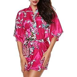 LATH.PIN Mujer Vestido Kimono Corto Pijama Bata Satén Estampado Flores Lenceria Albornoz 3/4 Manga Elegante Cómoda