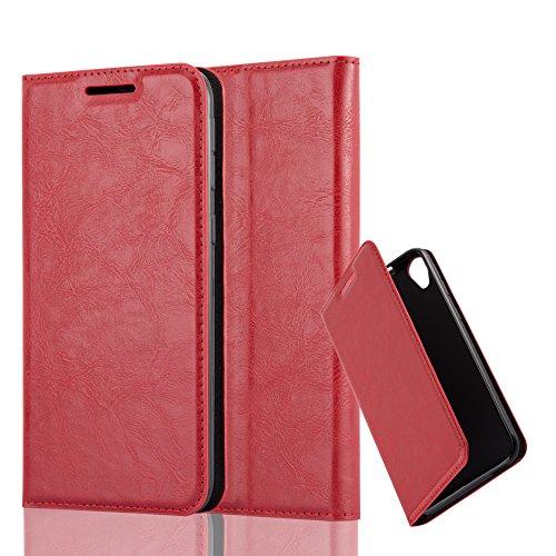 Cadorabo Hülle für HTC Desire 820 - Hülle in Apfel ROT – Handyhülle mit Magnetverschluss, Standfunktion und Kartenfach - Case Cover Schutzhülle Etui Tasche Book Klapp Style