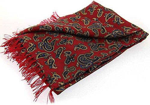 David Van Hagen Red Paisley de moda de lujo Seda bufanda