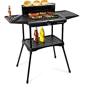 Andrew James Barbecue Electric Grill BBQ with Adjustable Temperature Settings 2 Large Side Tables and Condiment Stand - Suitable for Indoor & Outdoor Party Use - 1600W