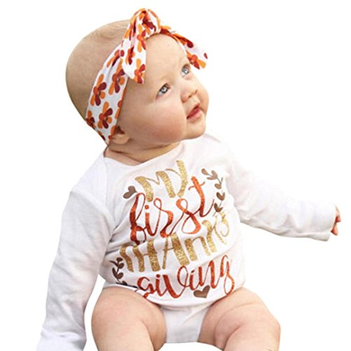 ng Set Mädchen Xinan Kleinkind Baby Girls Happy Thanksgiving Letter Print Playsuit Top Outfit Bluse Top (Weiß, 100) (Thanksgiving-outfits)