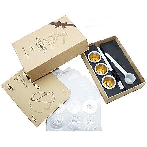Capsule Nespresso in acciaio inox ricaricabile caffè capsula (3 tazza) + alluminio Adesivo Coperchi (120pcs) (1 Tazza Di Caffè In Cialde)