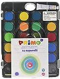 Deckfarbkasten, 24 Farben, inkl. Pinsel mit entnehmbaren Schälchen - Wasserfarben / Wassermalfarben / Tuschkasten zum Malen, Basteln und Spielen für Kinder
