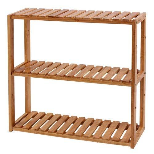 SONGMICS Bambus Regal, Ablagen höhenverstellbar, mit 3 Ebenen, Wandregal, Standregal, 60 x 15 x 54 cm, naturfarben BCB13Y