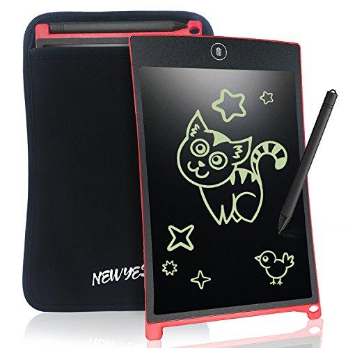 NEWYES Tablet da Scrittura LCD Portatile con Custodia, Lunghezza 8,5 Pollici, Vari Colori (Rosa + Caso)