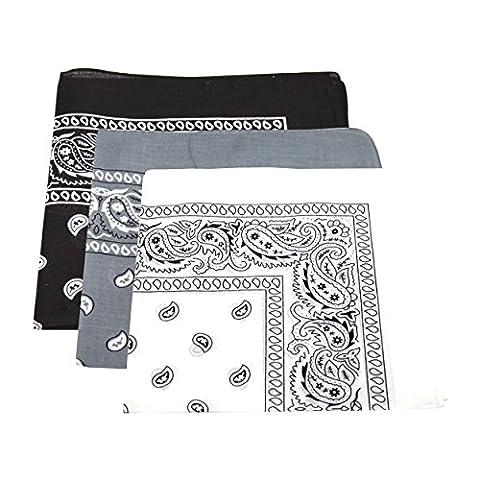 3 x Men's/Women's Paisley Pattern Bandana Head / Neck Scarf 100% Cotton (Black, White, Grey)